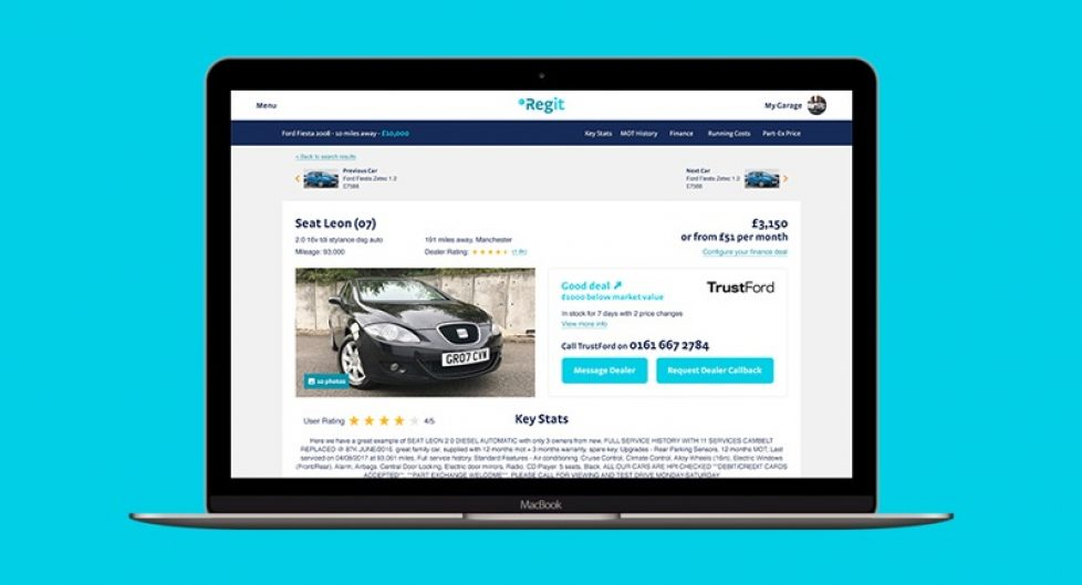 Regit used car page cover
